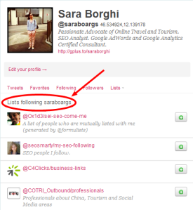 Twitter Lists following saraboargs